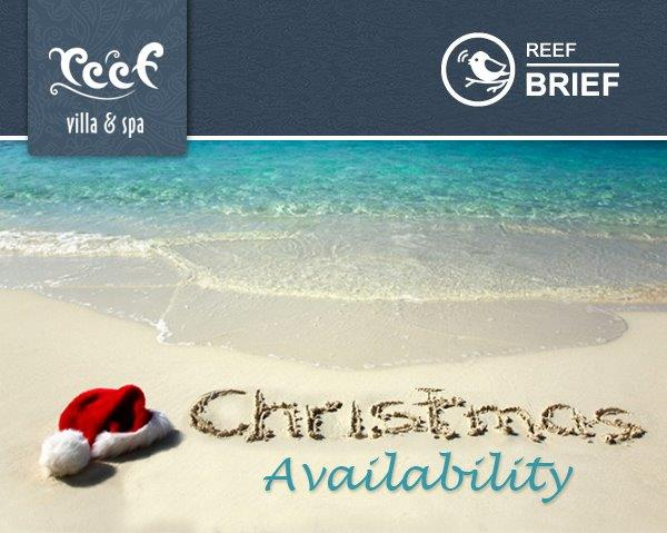 Christmas and New Year Availability 2017 on the Beach @ Reef Villa & Spa